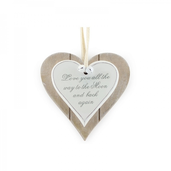 Double Heart Plaque - Love you all the way to the Moon and back again