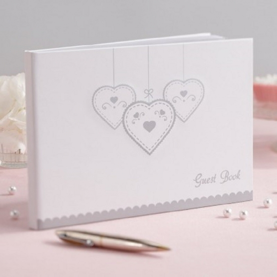 White Guest Book with Silver Details