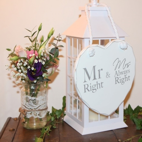 Wooden Heart Plaque - Mr Right & Mrs Always Right