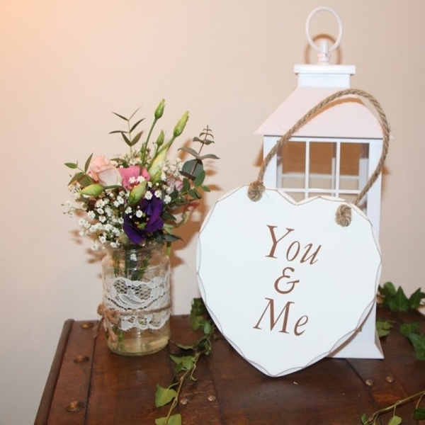 Wooden Heart Plaque - You & Me