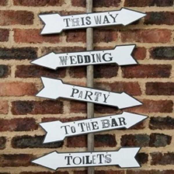 This Way, Wedding Party, To The Bar & Toilets Arrow Sign
